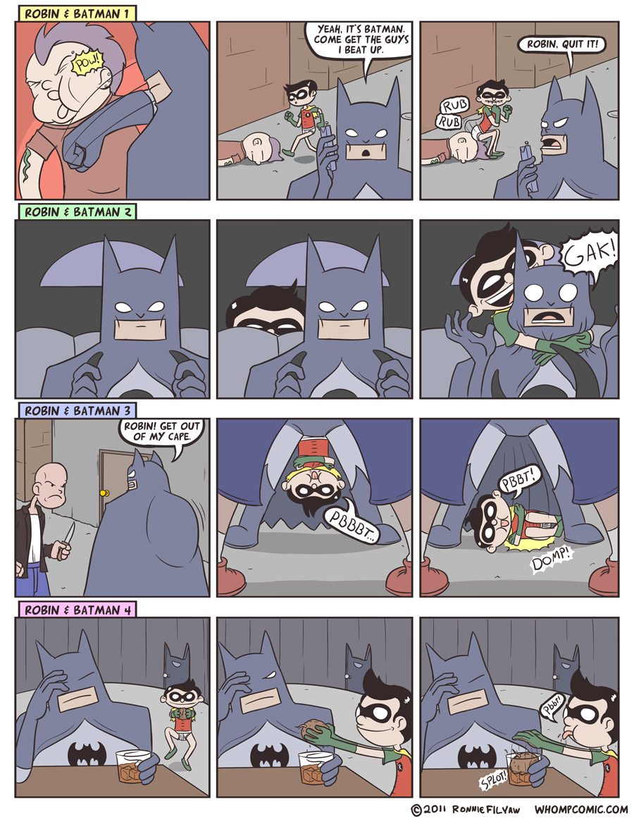 The fifth strip is Batman tossing a suspiciously heavy trashbag into Gotham river.